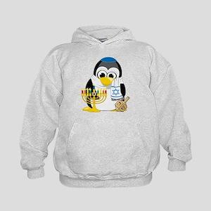 Hanukkah Scarf Penguin Kids Hoodie