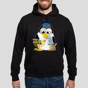 Hanukkah Scarf Penguin Hoodie (dark)