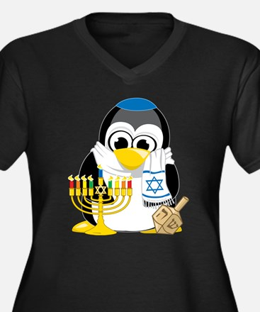 Hanukkah Scarf Penguin Women's Plus Size V-Neck Da