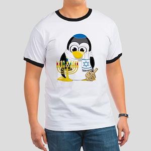 Hanukkah Scarf Penguin Ringer T