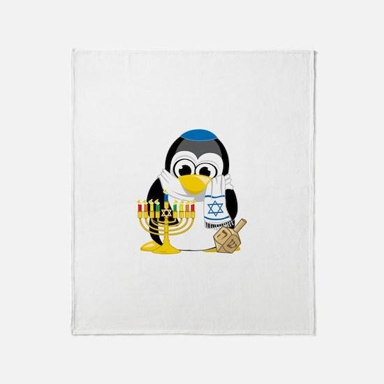 Hanukkah Scarf Penguin Throw Blanket