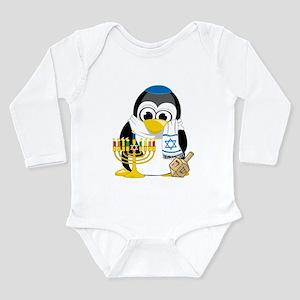 Hanukkah Scarf Penguin Long Sleeve Infant Bodysuit