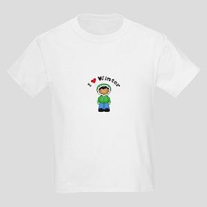 I Love Winter Green Jacket Kids Light T-Shirt