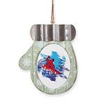All Over Snowboard in Bright Colors Mitten Ornamen