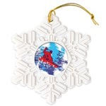All Over Snowboard in Bright Colors Snowflake Orna