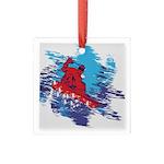 All Over Snowboard in Bright Colors Square Glass O
