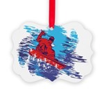 All Over Snowboard in Bright Colors Ornament