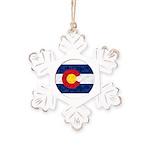 Colorado Pot Flag Rustic Snowflake Ornament