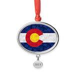 Colorado Pot Flag Oval Year Ornament