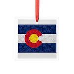 Colorado Pot Flag Square Glass Ornament