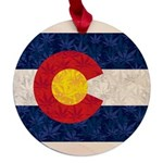 Colorado Pot Flag Maple Round Ornament