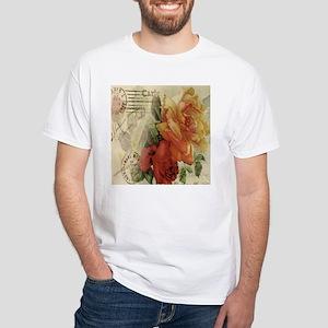 VINTAGE PARIS ROSES White T-Shirt