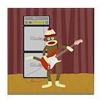 Sock Monkey Guitar Tile Coaster