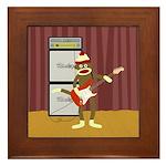 Sock Monkey Guitar Framed Tile