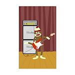 Sock Monkey Guitar Sticker (Rectangle)