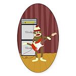 Sock Monkey Guitar Sticker (Oval)