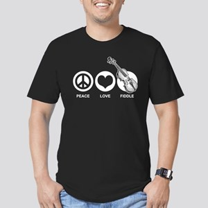 Peace Love Fiddle Men's Fitted T-Shirt (dark)