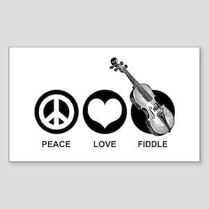 Peace Love Fiddle Sticker (Rectangle)