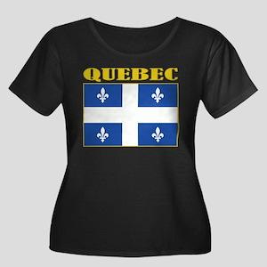 Quebec Flag Women's Plus Size Scoop Neck Dark T-Sh