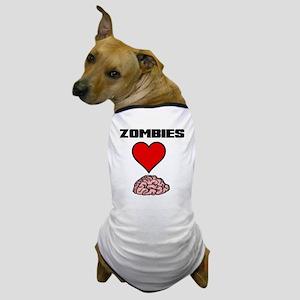 Zombies Heart Brains 2 Dog T-Shirt
