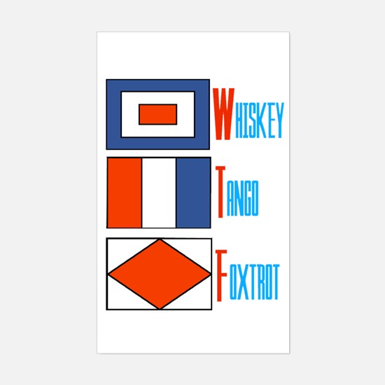 WTF Signal Flags Sticker (Rectangle)