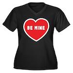 Be Mine Women's Plus Size V-Neck Dark T-Shirt