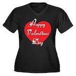 Happy Valentines Day Women's Plus Size V-Neck Dark
