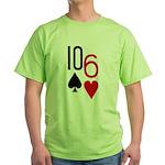 10s 6h Poker Hand Green T-Shirt