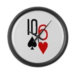 10s 6h Poker Hand Large Wall Clock