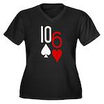 10s 6h Poker Hand Women's Plus Size V-Neck Dark T-