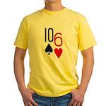 10s 6h Poker Hand Yellow T-Shirt
