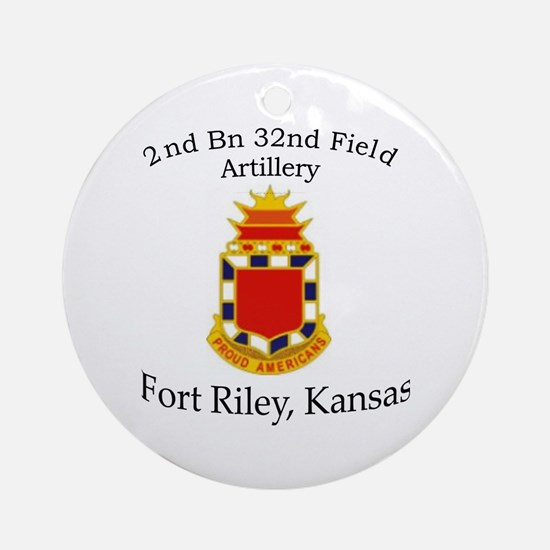 2nd Bn 32nd Field Artillery Ornament (Round)