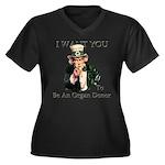 I want You Women's Plus Size V-Neck Dark T-Shirt