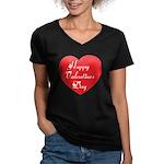 Happy Valentines Day Women's V-Neck Dark T-Shirt