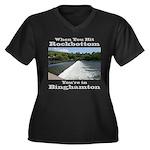 Rockbottom Dam Women's Plus Size V-Neck Dark T-Shi