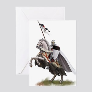 Templar on rearing horse Greeting Card