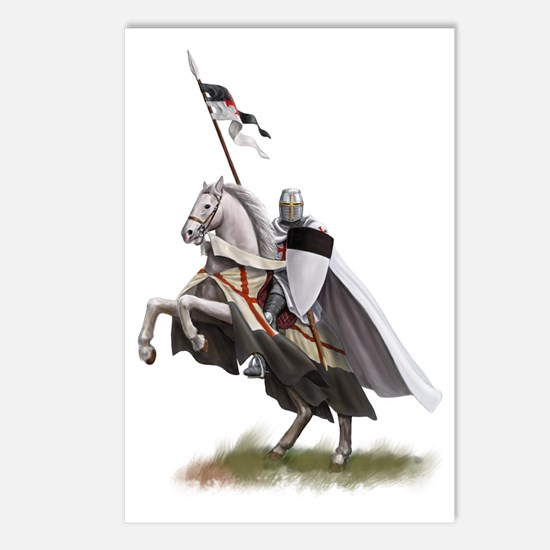 Templar on rearing horse Postcards (Package of 8)