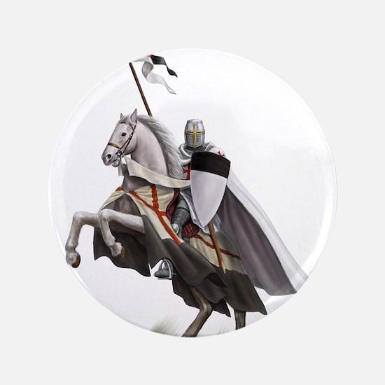 "Templar on rearing horse 3.5"" Button"
