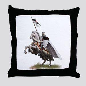 Templar on rearing horse Throw Pillow