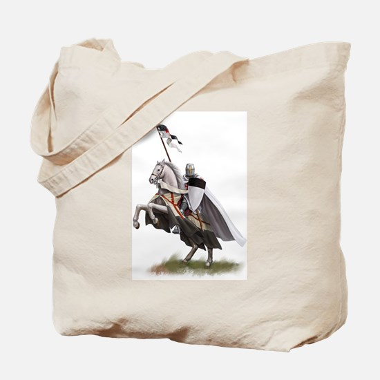 Templar on rearing horse Tote Bag