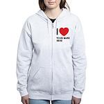 I Love ... Personal Name Women's Zip Hoodie