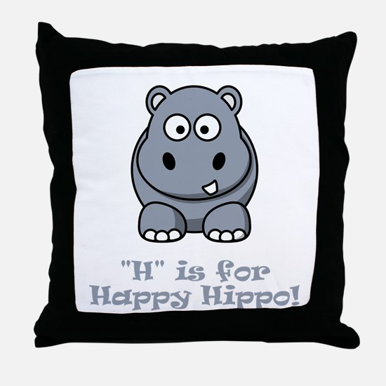H is for Happy Hippo! Throw Pillow