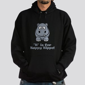 H is for Happy Hippo! Hoodie (dark)