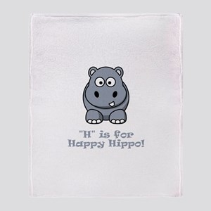 H is for Happy Hippo! Throw Blanket