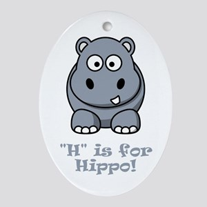 H is for Hippo! Ornament (Oval)