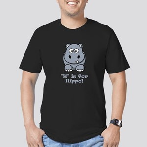 H is for Hippo! Men's Fitted T-Shirt (dark)