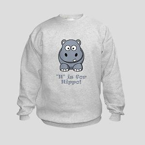 H is for Hippo! Kids Sweatshirt
