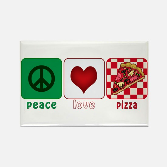 Peace Love Pizza Rectangle Magnet (100 pack)