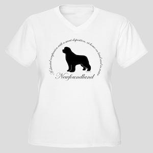 Devoted Black Newf Women's Plus Size V-Neck T-Shir