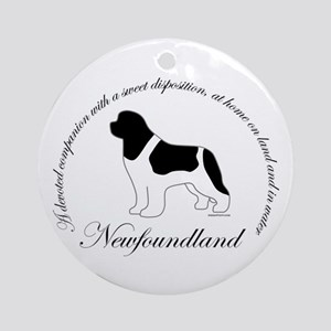 Devoted Landseer Newf Ornament (Round)